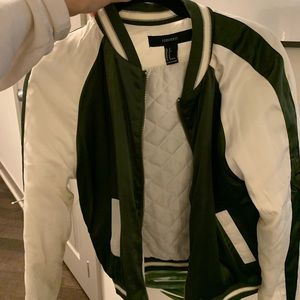 Jackets & Blazers - Green & cream bomber jacket